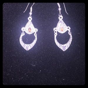 Sterling Silver Drop earrings with Orange Saphire